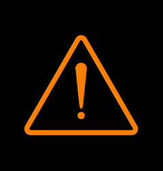 Exclamation danger sign flat style orange icon vector