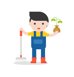Farmer and sapling in hand with rake in flat vector