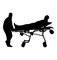 First aid paramedic help person silhouette vector