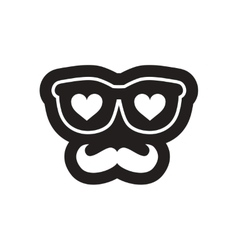 Flat icon in black and white glasses mustache vector