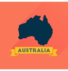 Flat icon with long shadow australia map vector