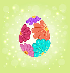 floral beautiful ornate easter egg background vector image
