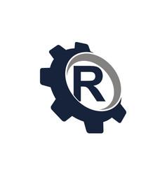 Gear logo letter r vector
