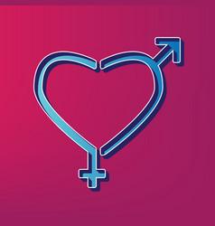 gender signs in heart shape blue 3d vector image