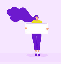girl holds a blank form poster template for text vector image