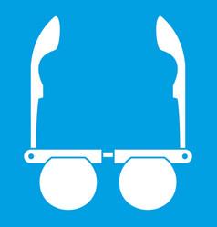 Glasses with black round lenses icon white vector