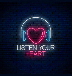 glowing neon sign with headphones heart shape and vector image