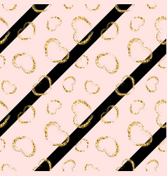 gold heart seamless pattern black-pink geometric vector image