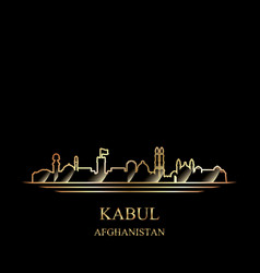 Gold silhouette of kabul on black background vector