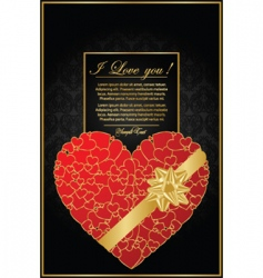 golden valentine background with heart vector image