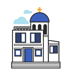 Greek church in white and blue colors with gold vector