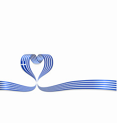greek flag heart-shaped ribbon vector image