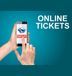hand holding a mobile phone buy air tickets vector image