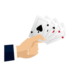hand with cards poker casino concept vector image