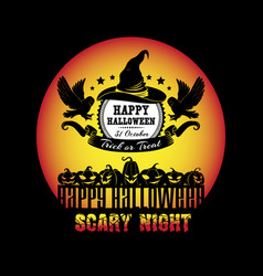 Happy halloween scary night t-shirt vector