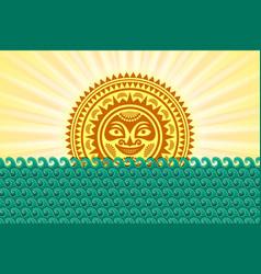 hawaiian sun sign in polynesian style with sea vector image