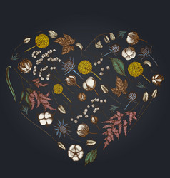 heart floral design on dark background with vector image