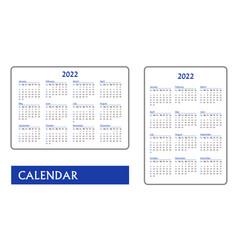 Horizontal and vertical blue pocket calendar vector