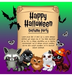 Inhabitants of the forest and card happy Halloween vector image