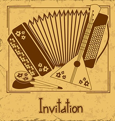 Invitation with folk musical instruments vector