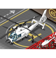 Isometric White Helicopter Landed in Front View vector image