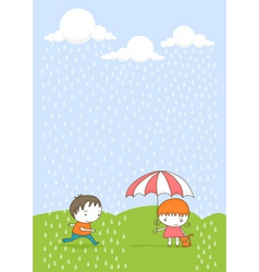 kids in the rain cartoon vector image