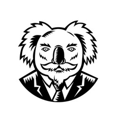 Koala with moustache woodcut black and white vector