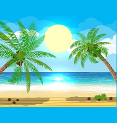 Landscape of palm tree on beach vector