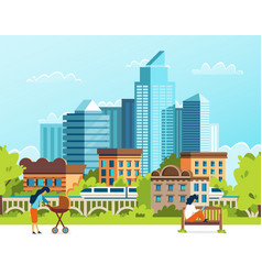 life in a big city urban people cartoon vector image