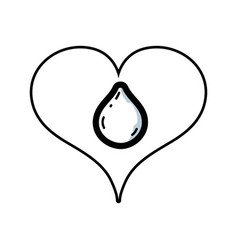 Line heart with water drop inside and love symbol vector