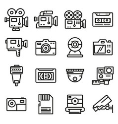line video and camera icons set vector image