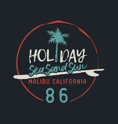 malibu california vintage surf club text label vector image