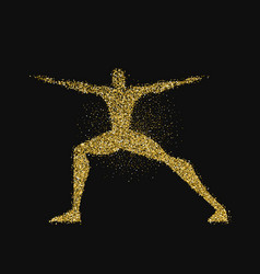 Man doing yoga pose silhouette in gold glitter vector