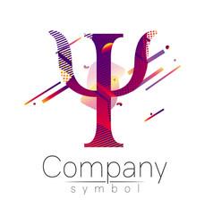 modern logo of psychology letter psi fluid style vector image
