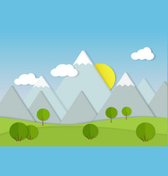 Mountains cardboard paper landscape green trees vector