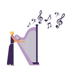 Musician woman playing harp vector
