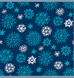 night stars and snowflakes seamless pattern vector image