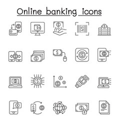 online banking icon set in thin line style vector image