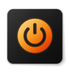 Orange glowing power button icon isolated on white vector