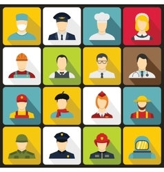 Professions icons set flat style vector