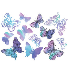 Purple butterflies cartoon clipart color vector