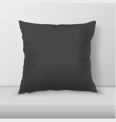 realistic 3d black pillow closeup on table vector image