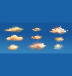 realistic clouds yellow or orange colors set vector image