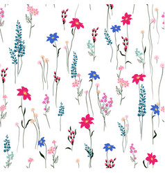 Seamless texture retro wild flower pattern vector