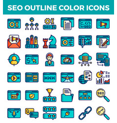 Seo search engine optimization outline color icons vector