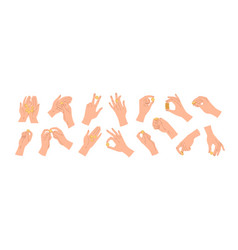 set hands holding throwing catching or giving vector image