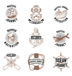 Set of hand drawn nautical emblems skipper anchor vector