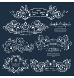 Set of Vintage Victorian ornaments Wedding design vector
