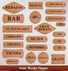 Set Wooden plaque spanish vector image