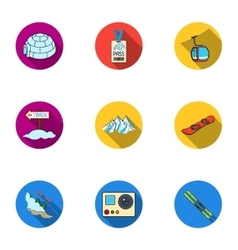 Ski resort set icons in flat style Big collection vector
